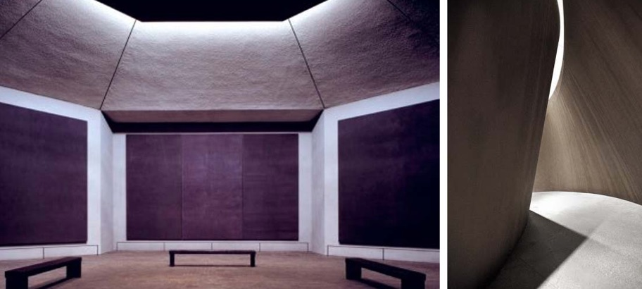 Photo that expresses an artistic language, made up of two close-ups; on the left dark paintings hanging on the walls, on the right a cave with a blade of light from above.