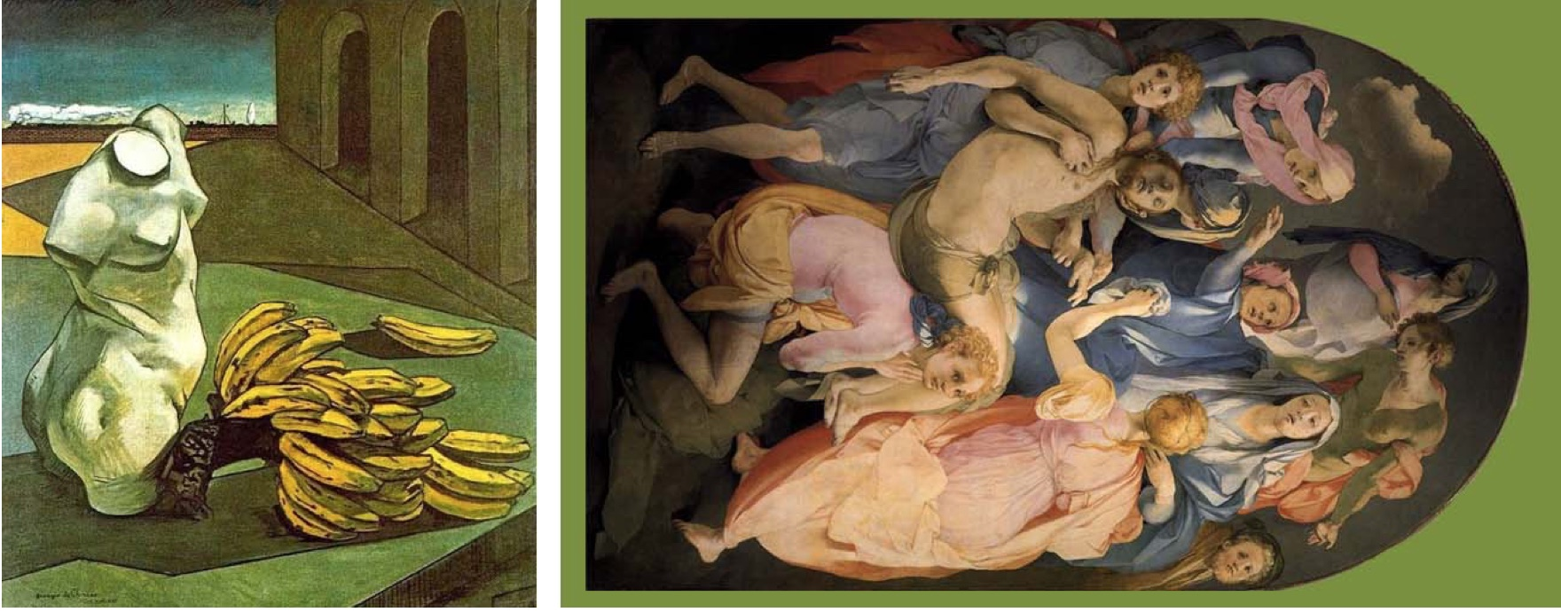 Photo that expresses a creative language: on the left painted with a human bust and a bunch of bananas, on the right a sacred painting on the death of Jesus