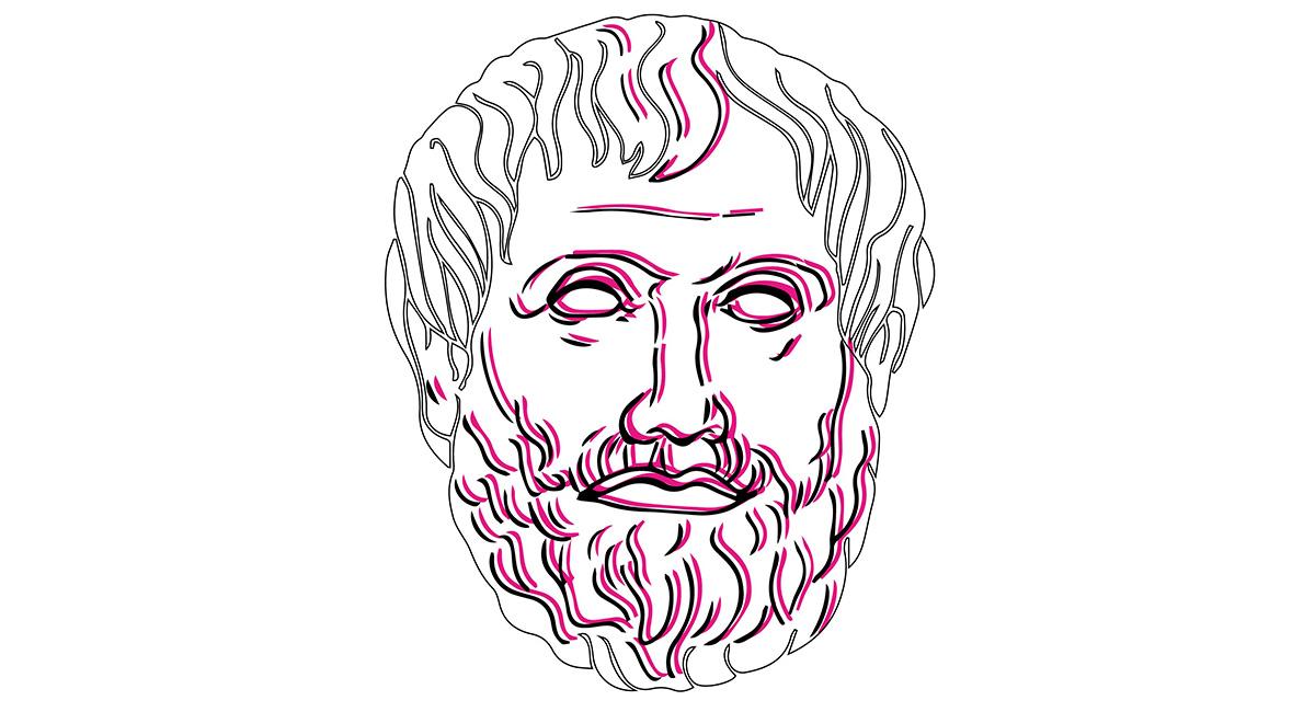 logo della rubrica Aristotele Digitale che mostra una scultura del filosofo, ma solo la testa, in bianco con tratti rosa