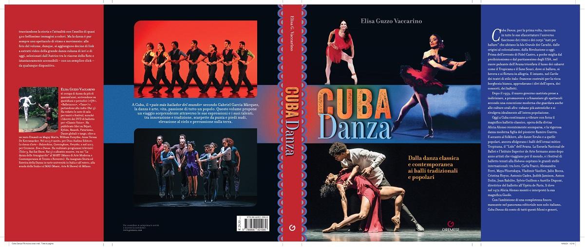 """nella foto a colori si vede la copertina del libro """"Cuba danza"""" di Elisa Guzzo Vaccarino, con le foto di ballerini"""