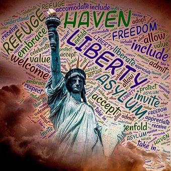 nella foto a colori si vede la statua della libertà e sullo sfondo rosa pastello la lettera libertà assiem ad altre come liberty, freedom, refuge, asylum ecc.