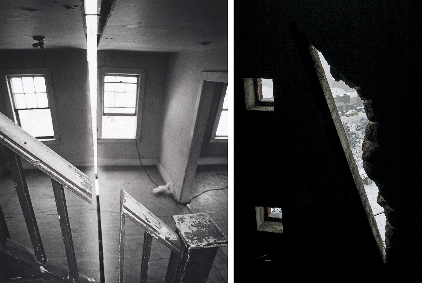 there are two black and white photos, on the left a basement and on the right the crack in a wall