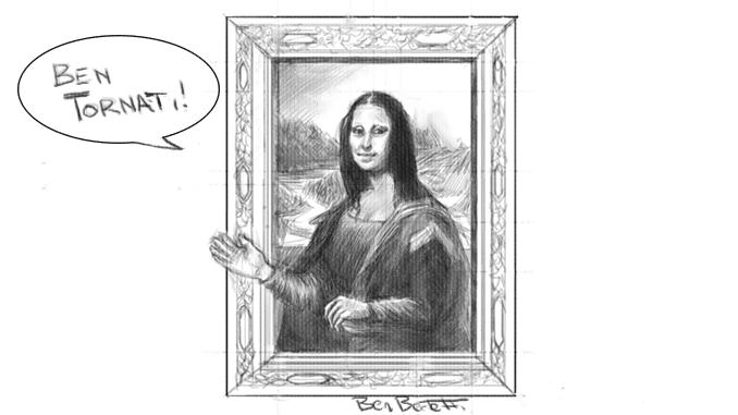"""il disegno in bianco e nero ritrae la Gioconda che saluta con la mano dicendo, in un fumetto, """"ben tornati!"""""""