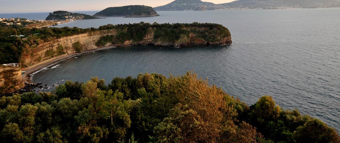 la foto a colori mostra una veduta panoramica dell'isola di Procida circondata dal mare