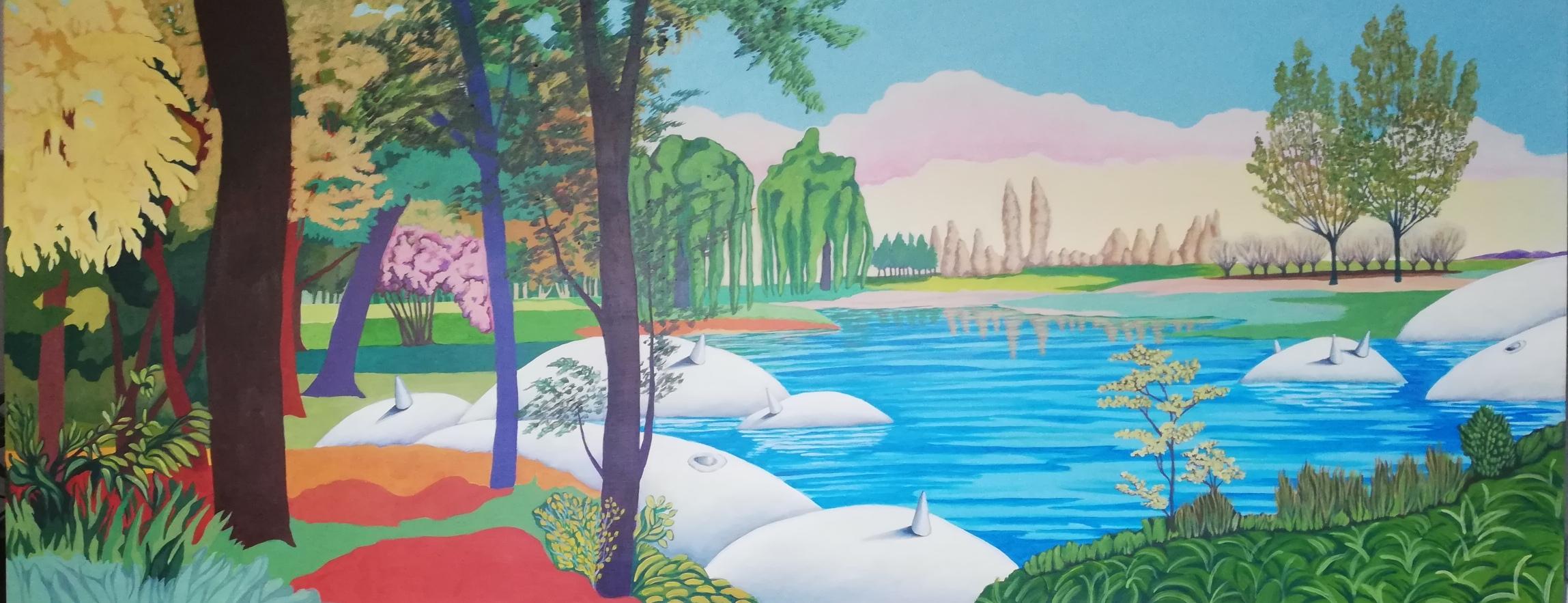 il dipinto di Yvonne D'acosta a colori ritrae un paesaggio con molti alberi e un fiume