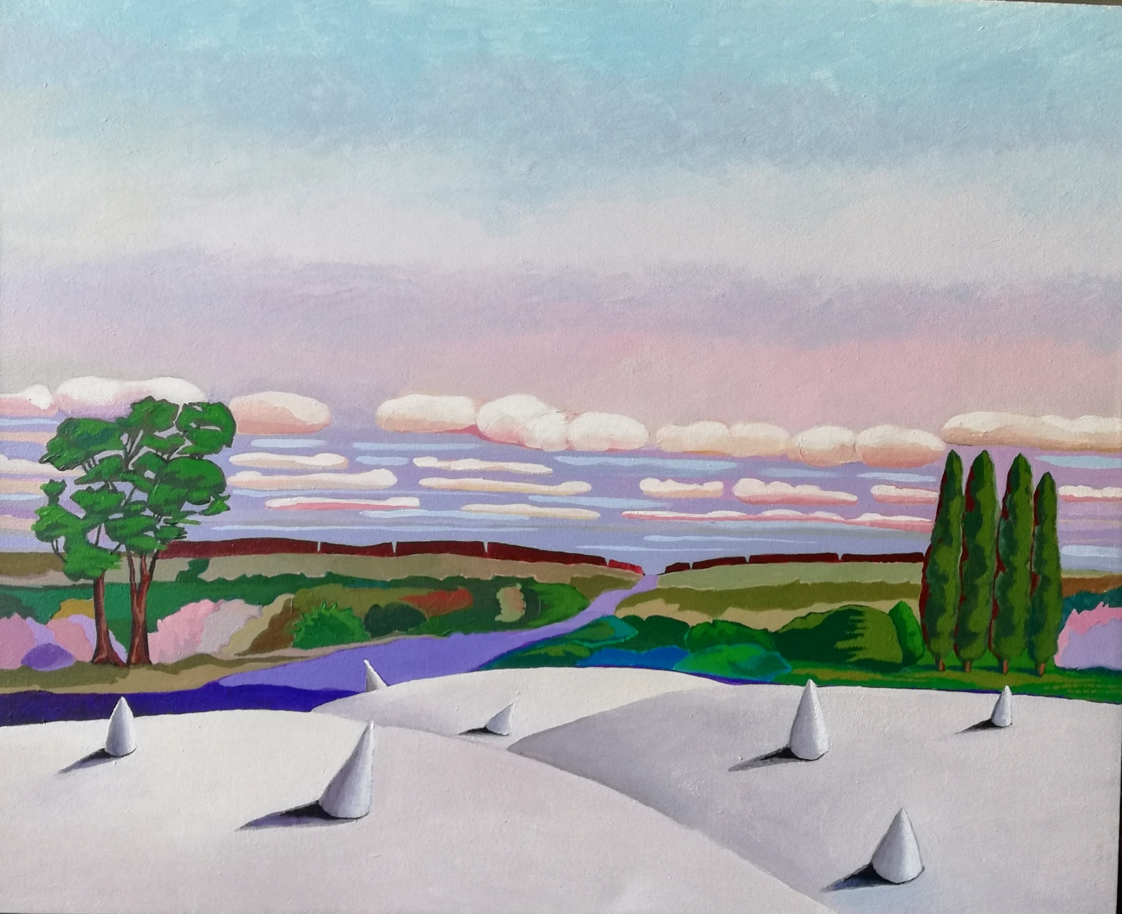 il dipinto di Yvonne D'acosta a colori ritrae un paesaggio con cipressi, un albero e un fiume; le nuvole sono rosa e una parte del terreno, oltre a essere verde, è bianca