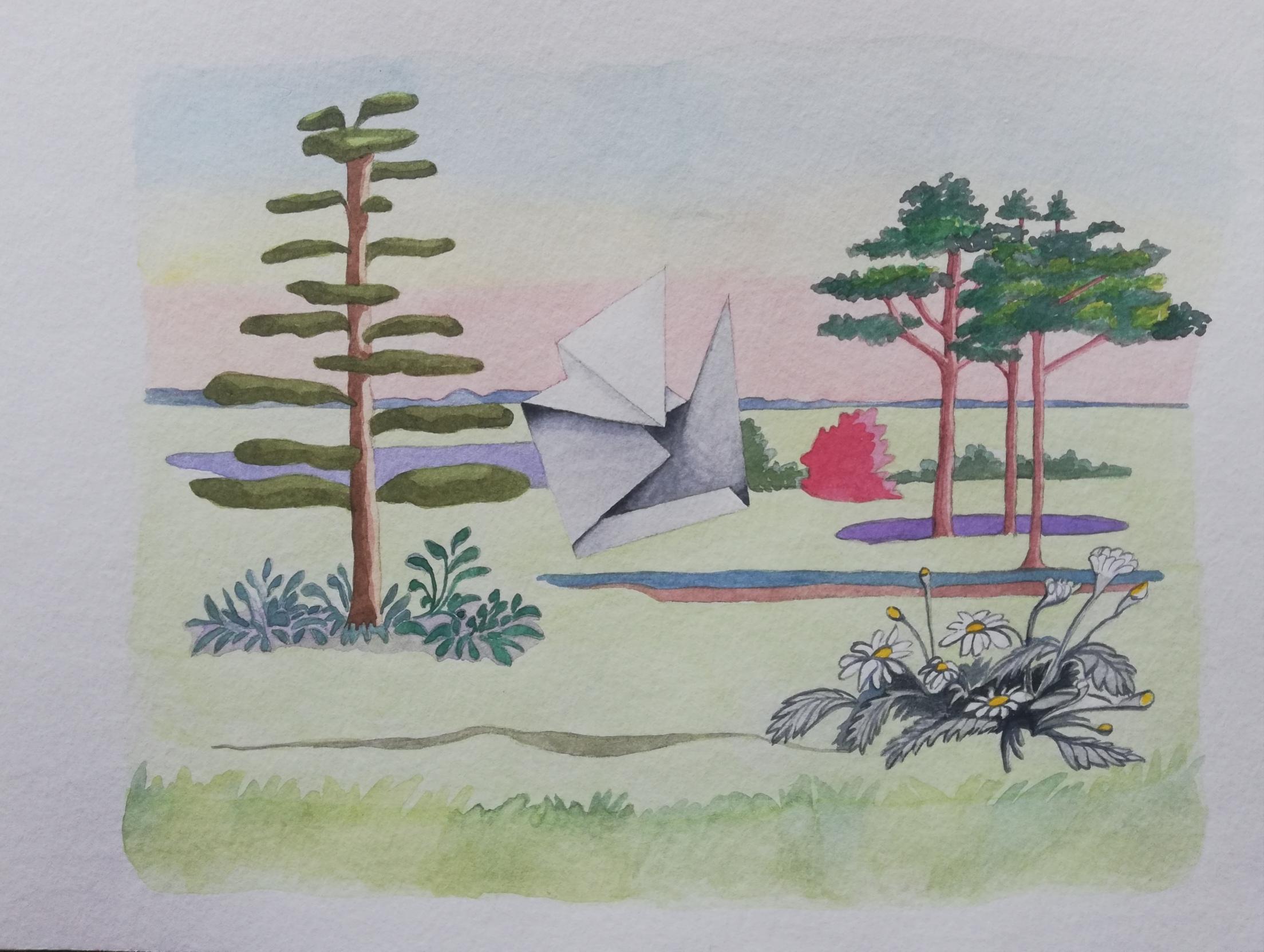 il dipinto di Yvonne D'acosta a colori ritrae un paesaggio con alcuni alberi, uno a sinistra e tre a destra; in primo piano, alcune margherite e al centro, una specie di foglio di carta piegato su se stesso