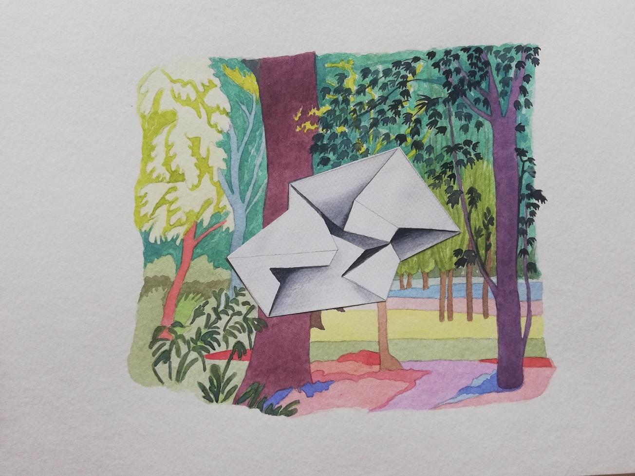 il dipinto di Yvonne D'acosta a colori ritrae un paesaggio con alcuni alberi; in primo piano, una specie di foglio di carta piegato su se stesso