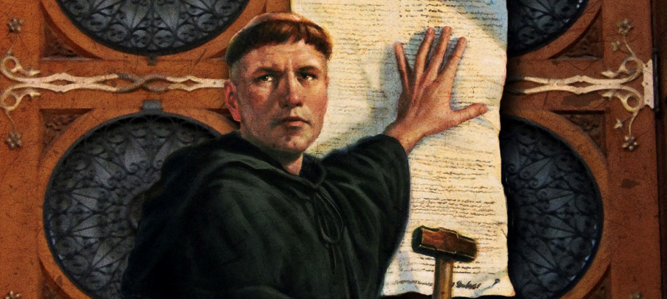 il dipinto a colori mostra Martin Lutero che affigge le sue 95 tesi sul portone della chiesa di Ognissanti nel castello di Wittenberg. Sulla mano sinistra regge un foglio di carta, sull'altra un martello.