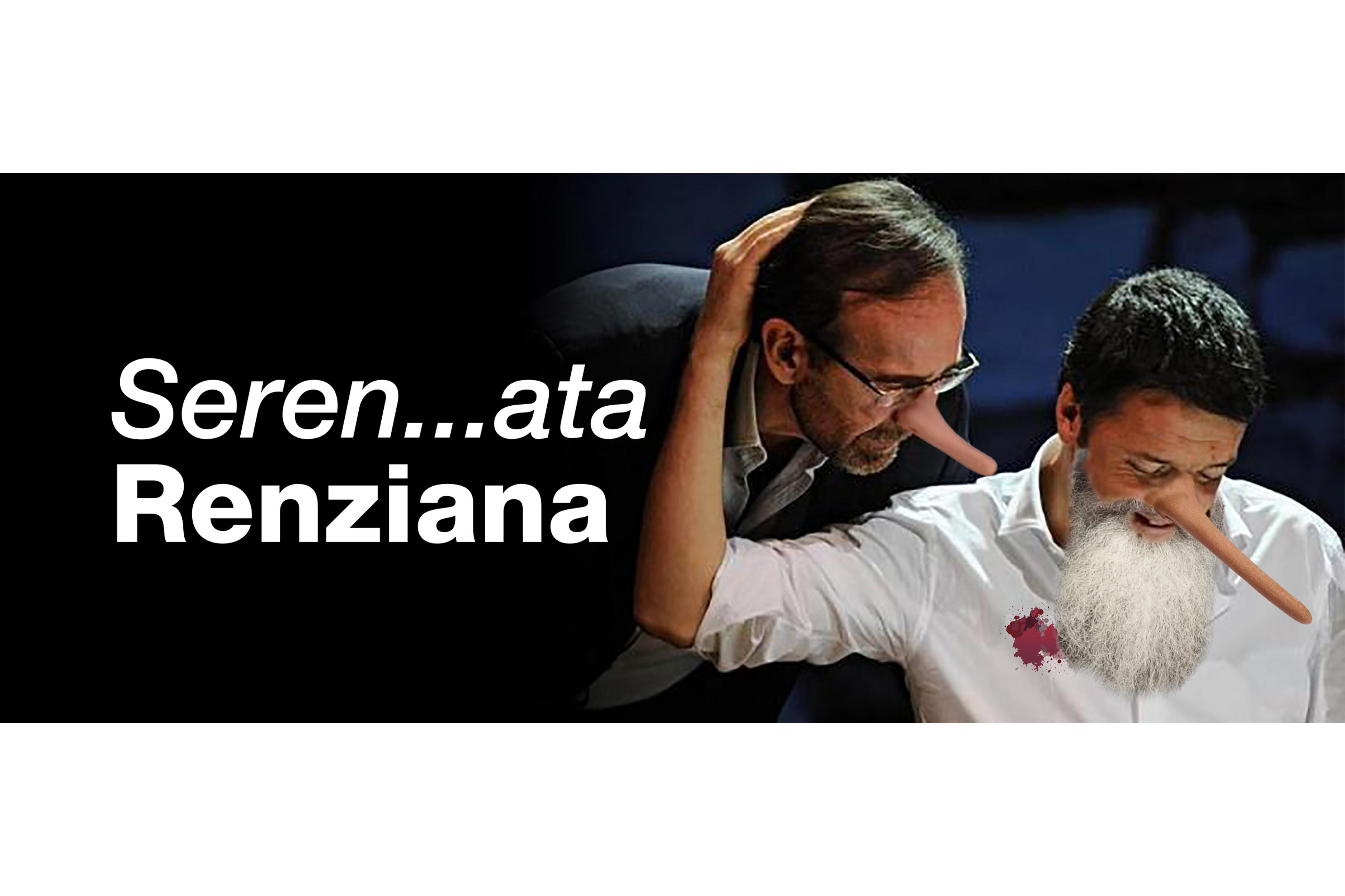 fotomontaggio, colori, Riccardo Nencini con naso da Pinocchio sbircia da sopra la spalla di Matteo Renzi, con naso da Pinocchio barba bianca e camicia macchiata di rosso, che lo abbraccia, entrambi con naso lungo da Pinocchio, scritta: Seren...ata Renziana