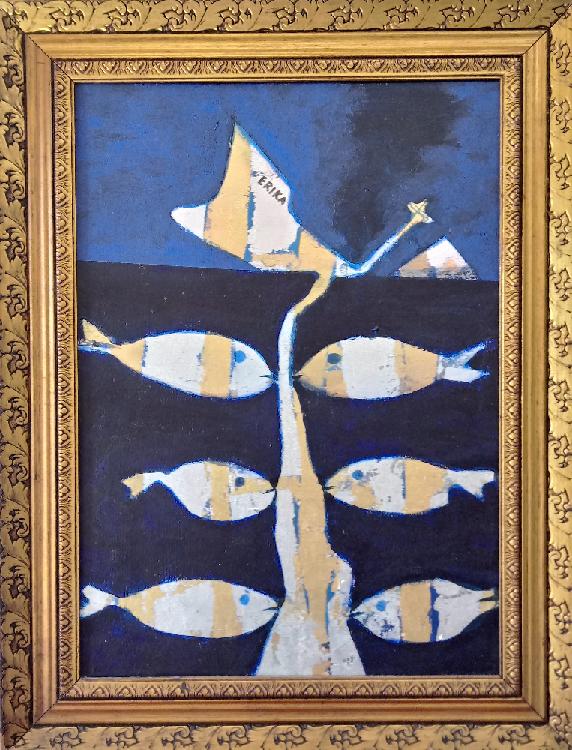 L'immsgine mostra una delle opere di Beppe Sabatino appartenenti alla serie PESCIBAROCCHI. Il quadro mostra un albero che al posto delle foglie ha dei pesci attaccati per la bocca. L'albero bianco da su sfondo blu scuro con un accenno di cielo azzurro nella parte superiore