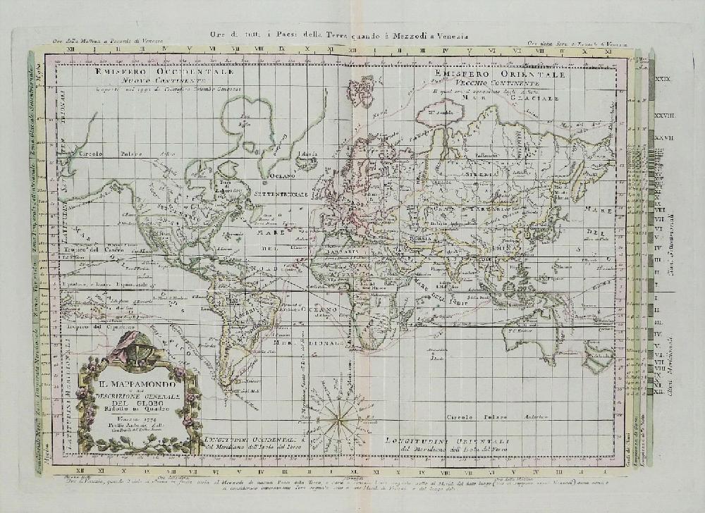 L0immagine mostra una mappa del globo terrestre del XVIII. La forma dei continenti è approssimativamente quella reale salvo alcune zone bianche nella parte nord-occidentale del nord America e l'Australia. La mappa è disegnata su una griglia decorata da una rosa dei venti nella parte bassa