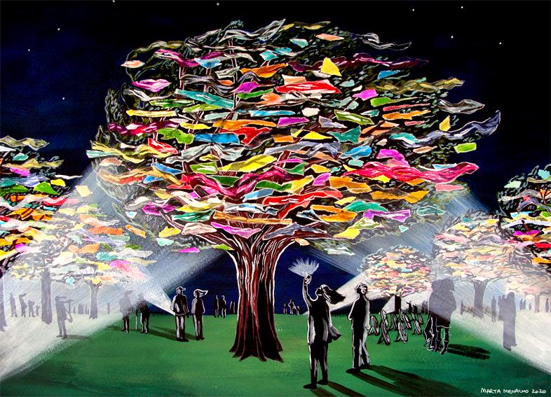 Illustrazione di alberi la cui chioma non è di foglie ma di sacchetti di plastica. Uomini e donne intorno li illuminano di notte con fasci di luce