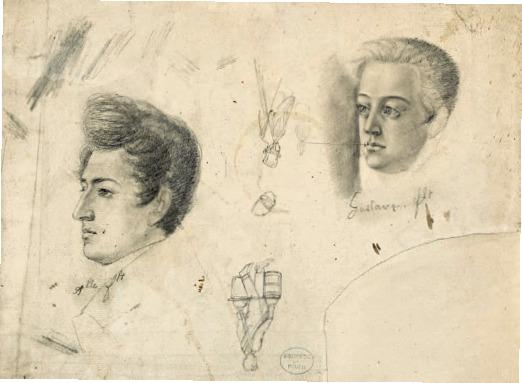 l'opera d'arte in bianco e nero mostre due teste di due uomini
