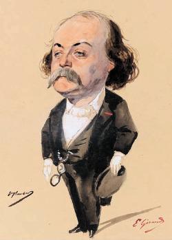 l'opera d'arte a colori mostra una caricatura dello scrittore Gustave Flaubert, che indossa un completo nero, e camicia bianca
