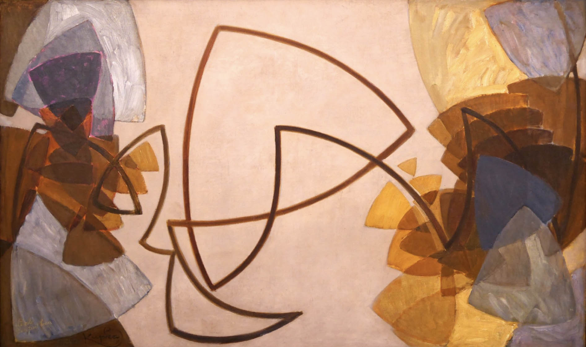 la foto a colori di varie tonalità di marrone mostra delle forme astratte un po' geometriche