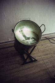 la foto a colori mostra un secchio pieno di qualcosa, in cui si vede, però, anche um'immagine riflessa