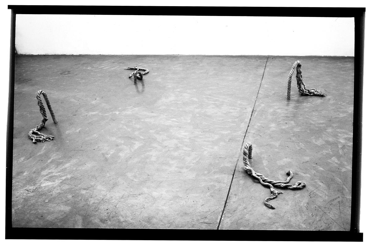 la foto in bianco e nero mostra un pavimento con dei nodi di corda