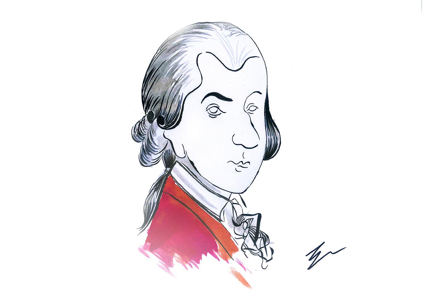 L'immagine è un disegno stilizzato di Wolfgang Amadeus Mozart. Il disegno è in bianco e nero salvo un accenno di rosso in corrispondenza della giacca del celebre compositore